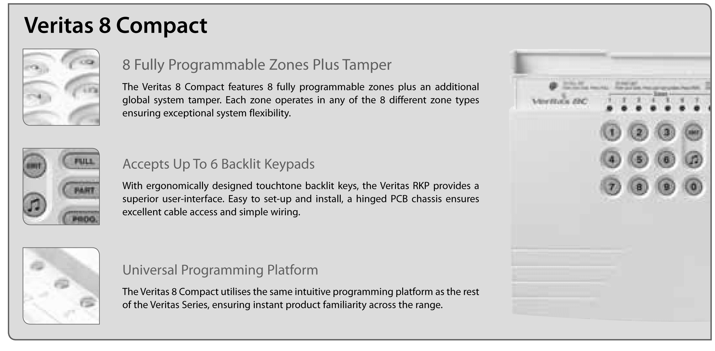 Burglar Alarm Cost >> Texecom Veritas 8 Compact with Key Switch Facility